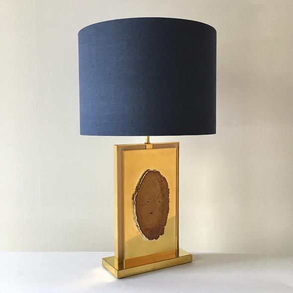 A Unique Hand Made Brass and Mounted Agate Table Lamp