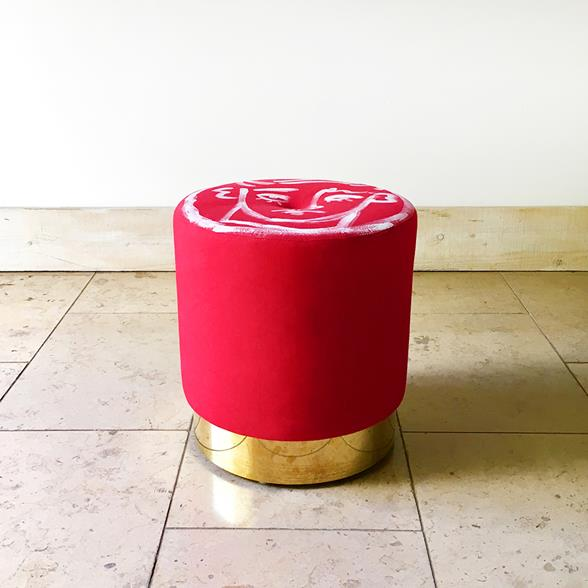 A Unique Luke Edward Hall Hand Painted Cora Stool by Talisman Bespoke