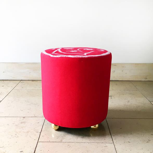 A Unique Luke Edward Hall Hand Painted Maud Stool by Talisman Bespoke