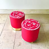 A Unique Luke Edward Hall Hand Painted Maud Stool by Talisman Bespoke Alternate image