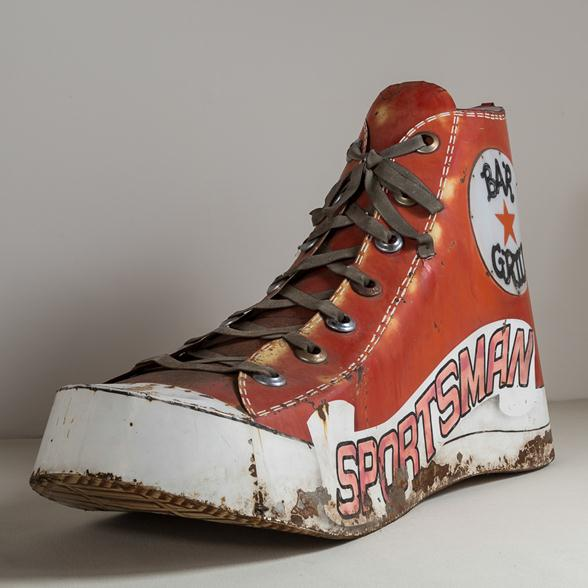 A Vintage Metal and Acrylic Painted 'High Top' Shoe Sculpture