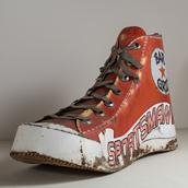 A Vintage Metal and Acrylic Painted 'High Top' Shoe Sculpture main image
