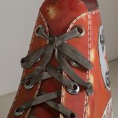 A Vintage Metal and Acrylic Painted 'High Top' Shoe Sculpture Alternate image