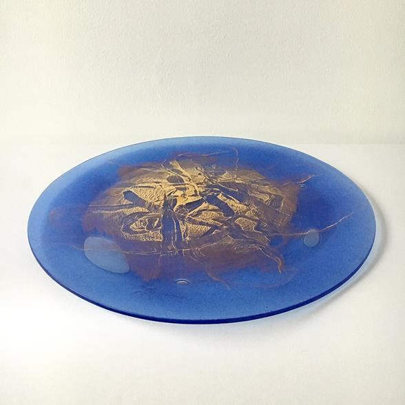A Wells Studio Rare Fused Art Glass Plate by Higgins 1950s