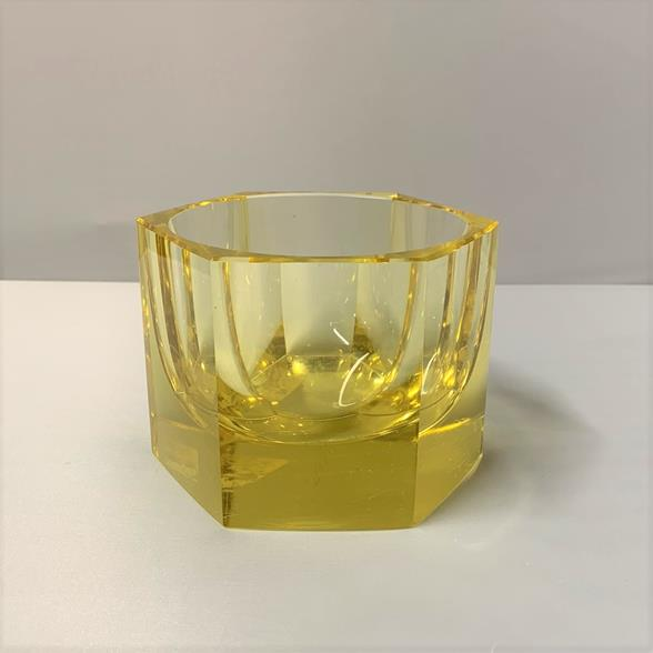 A Yellow Octagonal Faceted Moser Glass Ashtray 1970s