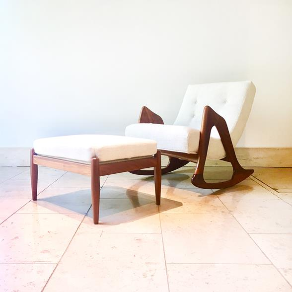 Adrian Pearsall Rocking Chair and Stool 1960s