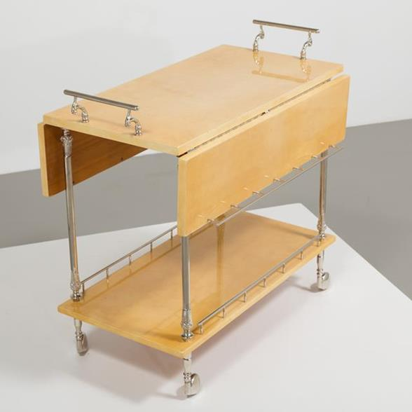 An Aldo Tura designed Natural Goatskin Lacquered Barcart 1950s