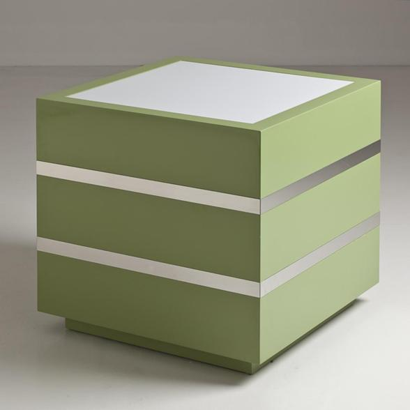 An Apple Green Lacquer and Polished Steel Lightbox 1970s