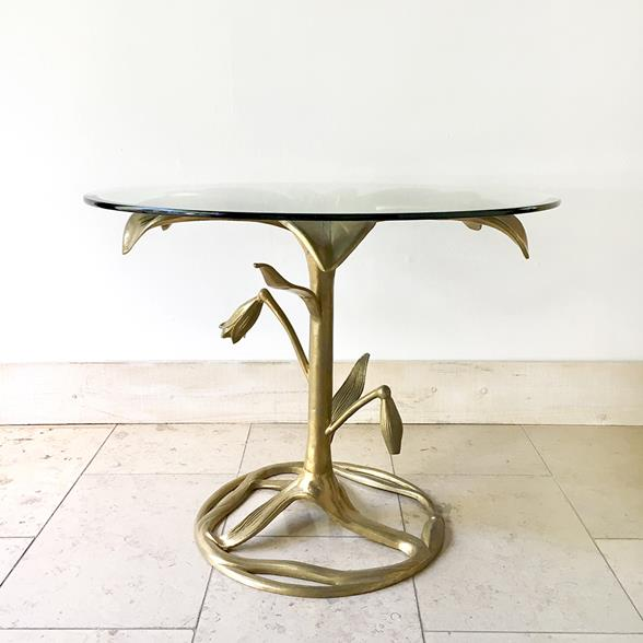 An Arthur Court Gilded Centre Table with Glass Top 1960s