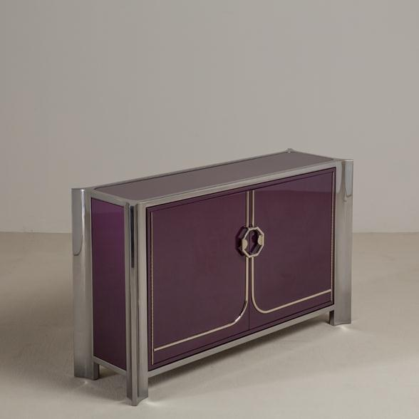 An Aubergine Lacquered Two Door Cabinet by Mastercraft 1980s