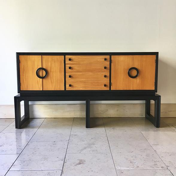 An Ebonised and Wooden Cabinet  by Americraft 1970s