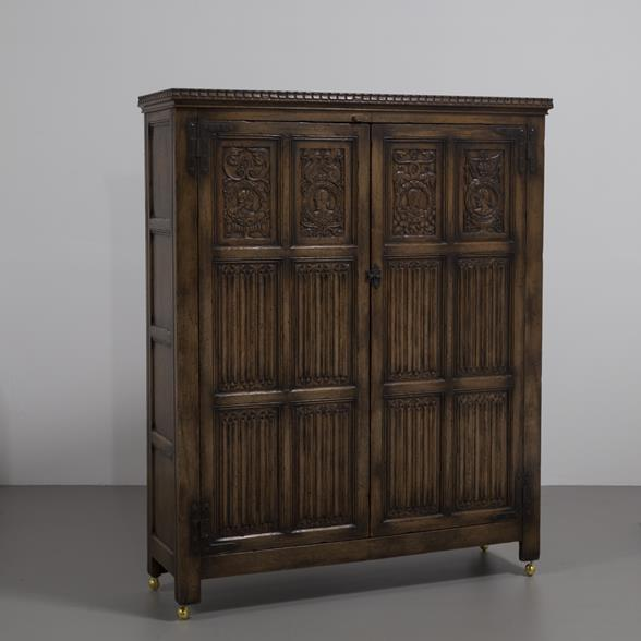 An English Oak Linen Fold Cupboard 1880