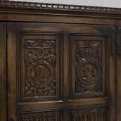 An English Oak Linen Fold Cupboard 1880 Alternate image
