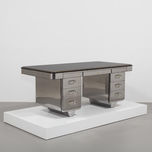 An English Polished Steel Freestanding Desk 1960s