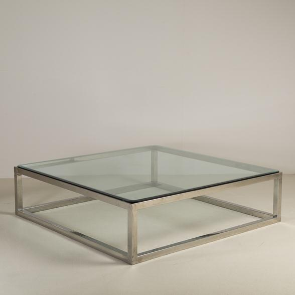 An Enormous Nickel Framed Coffee Table with Glass Top 1970s