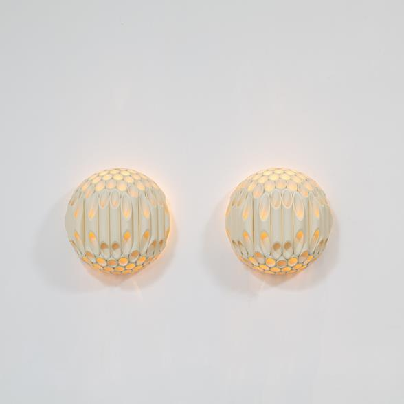 An Exceptional Pair of Spherical Wall Sconce by Rougier Canada 1970s