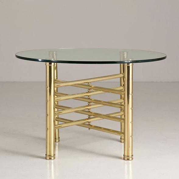 An Italian Brass Occasional Table with Circular Glass 1960s