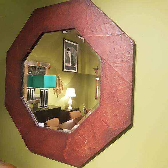 An Octagonal Lacquered Tobacco Leaf Framed Mirror 1970s