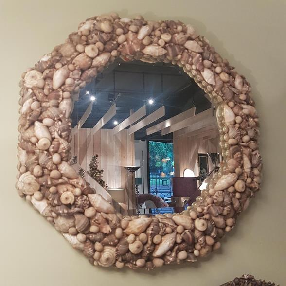 An Octagonal Shell Encrusted Mirror