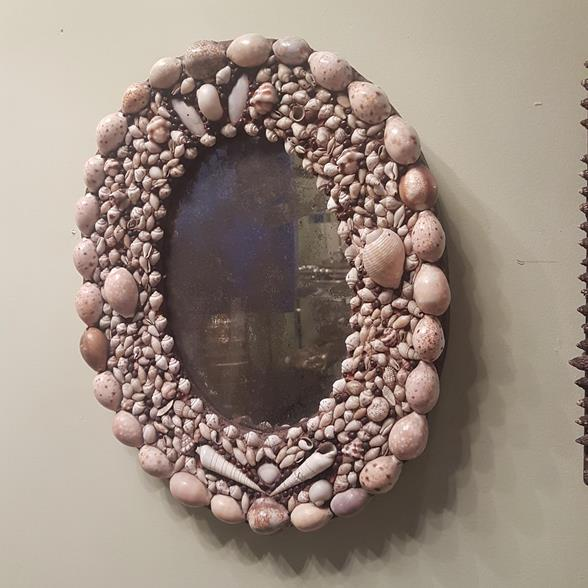 An Oval Shell Encrusted Mirror