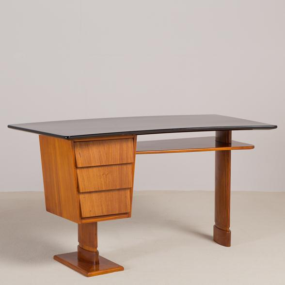 An Unusual Italian Walnut and Jet Black Lacquered Desk 1950s