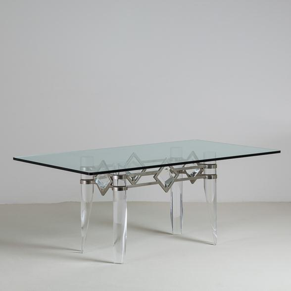 An Unusual Tapered Lucite and Nickel Plated Based Table 1970s