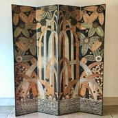 Black and Gilt Four Panel Screen by Decorative Crafts Inc main image