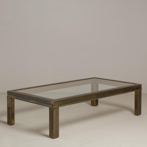Bronze Patinated Brass Framed Coffee Table 1970s