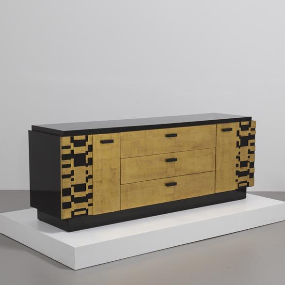 Burnished Black Lacquer and Gold Leafed Cabinet by Lane 1950s