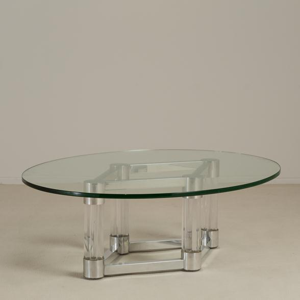 Chunky Lucite and Aluminium Coffee Table 1970s