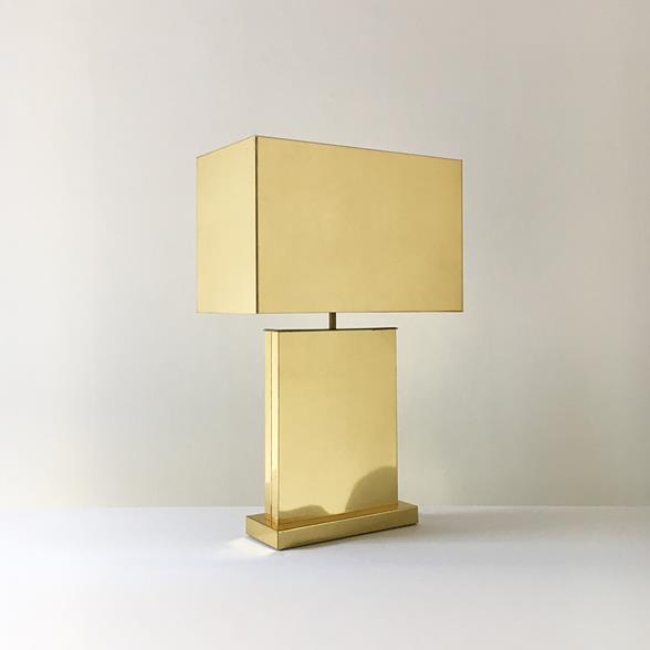 Curtis Jere designed Brass Table Lamp With Metal Shade 1976