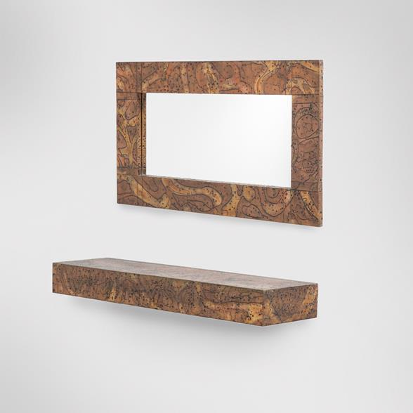 Embossed Patinated Aluminium Mirror and Shelf by Arenson