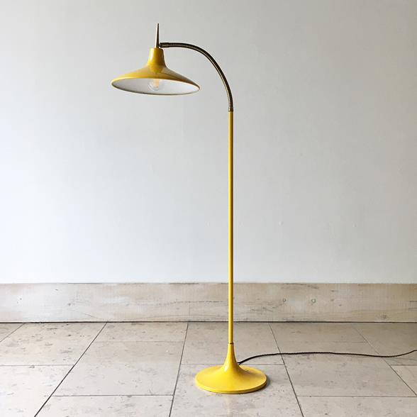 Gio Ponti Style Yellow and Brass Articulated Floor Lamp 1960s