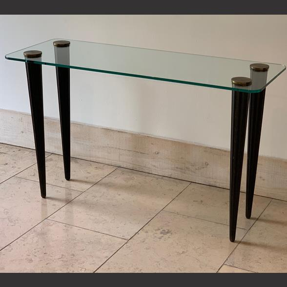 Glass Topped Console in the manner of Gilbert Rohde