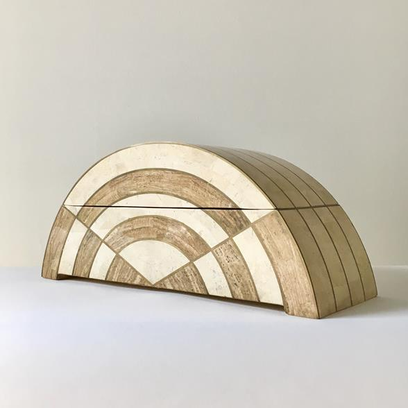 Large Arc Shaped Tessellated Stone Box by Maitland Smith