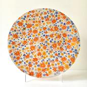 Large Country Garden Patterned Fused Glass Plate by Higgins  main image