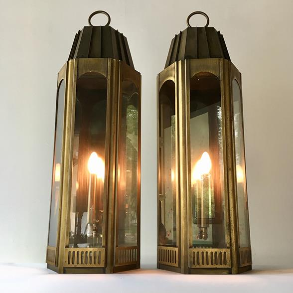 Large Pair of Art Deco Style Tarnished Brass Wall Lanterns 1960s