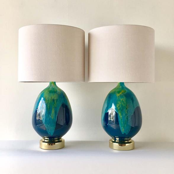 Large Pair of Glazed Ceramic Table Lamps 1960s