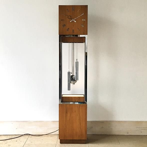 Mid Century Modern Wooden Cased Grandfather Clock 1980s