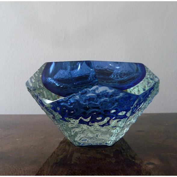 Murano Blue and Pale Gold Cased in Clear Glass Bowl