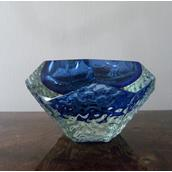Murano Blue and Pale Gold Cased in Clear Glass Bowl main image