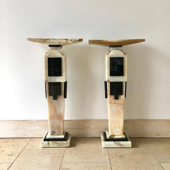 Pair of Art Deco Style Pedestals 1980s