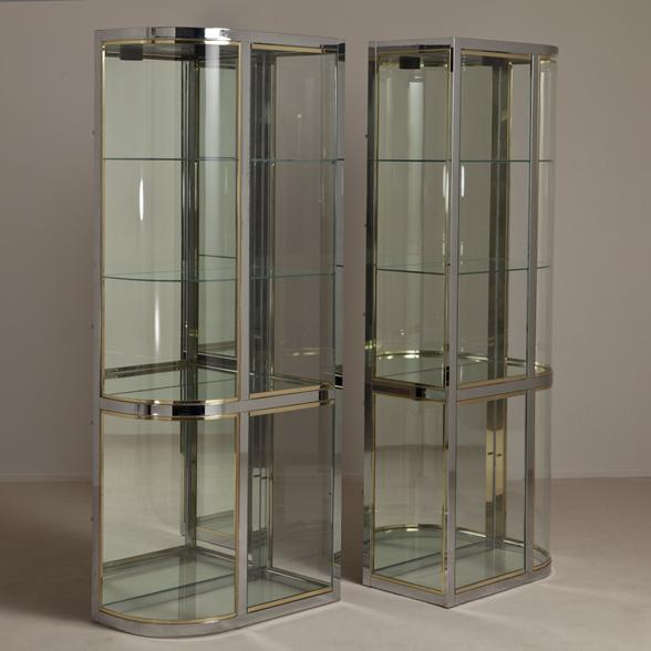 Pair of Brass and Steel Glazed Cabinets by DIA 1970s