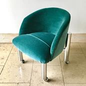 Pair of Chrome Framed Teal Velvet Tub Chairs  1960s  Alternate image