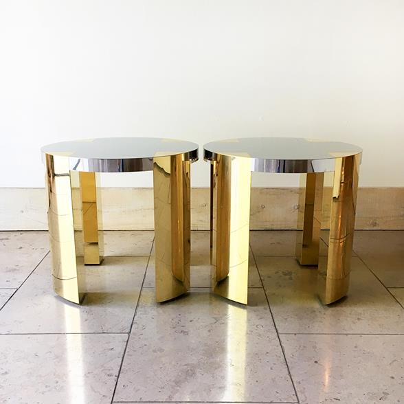 Pair of Circular Steel Wrapped Side Tables Bespoke
