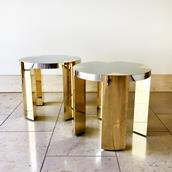 Pair of Circular Steel Wrapped Side Tables Bespoke Alternate image