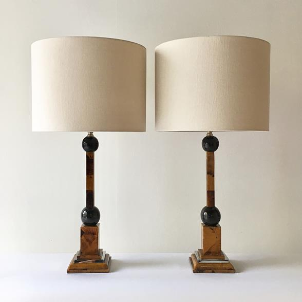 Pair of Maitland Smith Shell Veneered Table Lamps 1970s