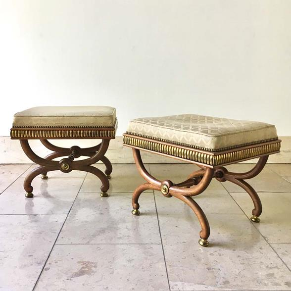 Pair of Possibly Russian Empire Style Rosewood Stools