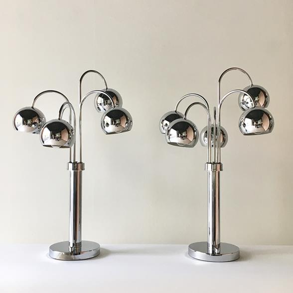 Pair of Space Age Chrome Waterfall Five Arm Table Lamps 1960s