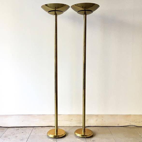 Pair of Tall Brass Uplighters Floor Lamps 1970s
